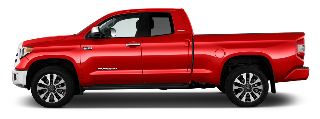 side view of red 2019 toyota tundra