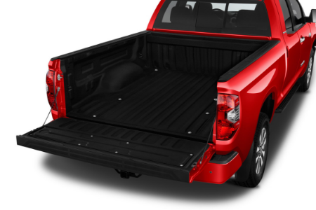 rear view of red 2019 toyota tundra with bed gate down