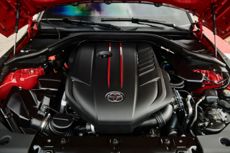 engine of the 2020 toyota supra underneath hood