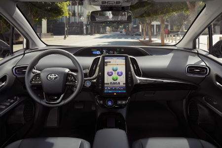 front interior of 2019 toyota prius including steering wheel and multimedia display