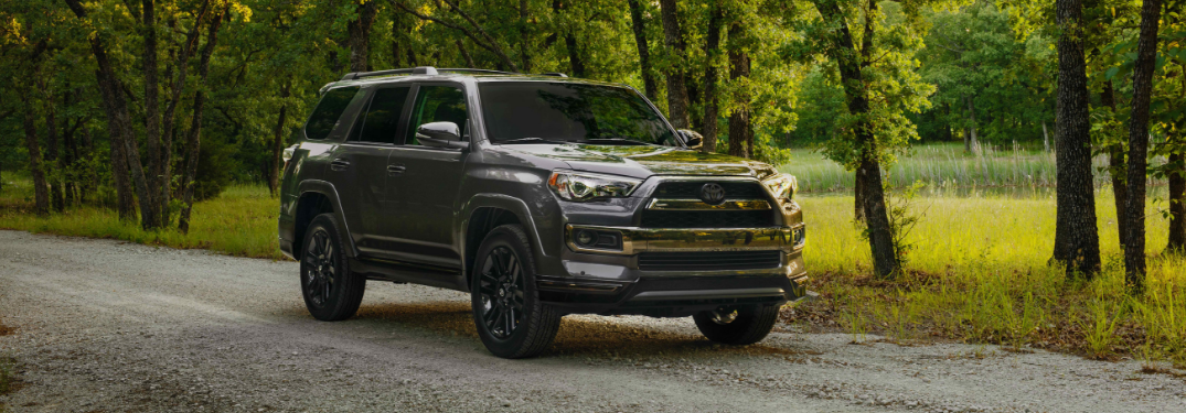 front and side view of gray 2019 toyota 4runner