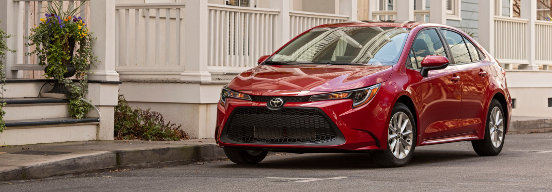 Front and side view of red 2020 toyota corolla