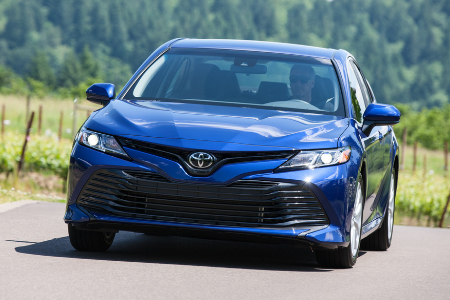 front view of blue 2019 toyota camry