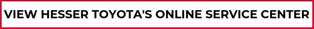 """red, white and black button with text """"view hesser toyota's online service center"""""""