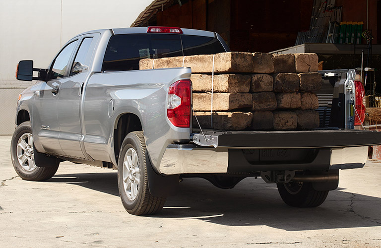 2019 Toyota Tundra with wood beams in the cargo bed