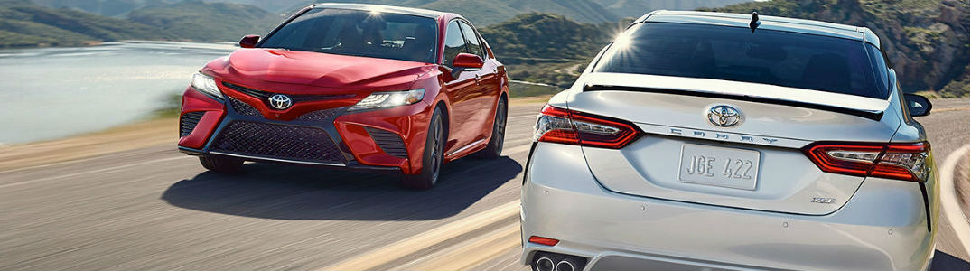 2019 Toyota Camry models driving on a road