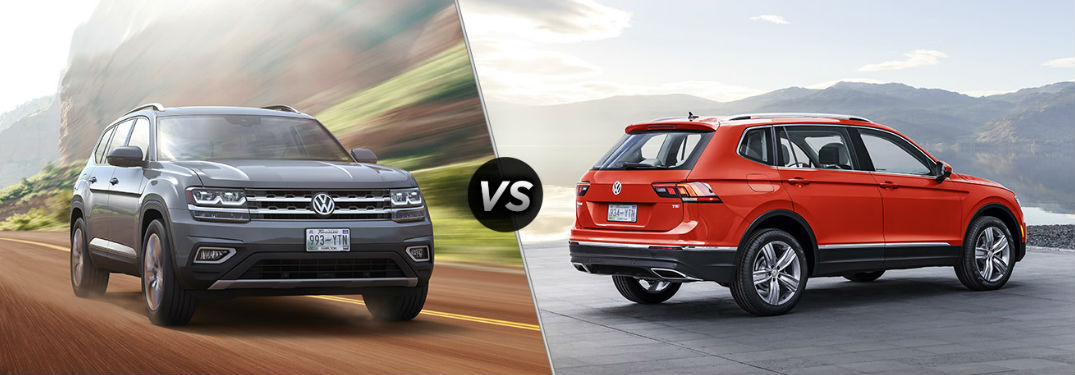 2018 Volkswagen Atlas in gray vs 2018 Volkswagen Tiguan in red