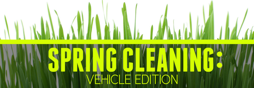 Spring Cleaning Vehicle Edition written over grass