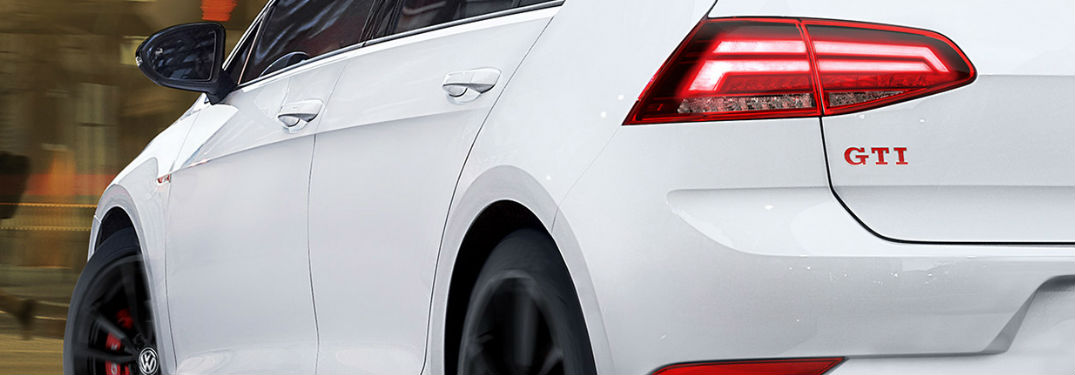 2019 Volkswagen Golf GTI rear in white