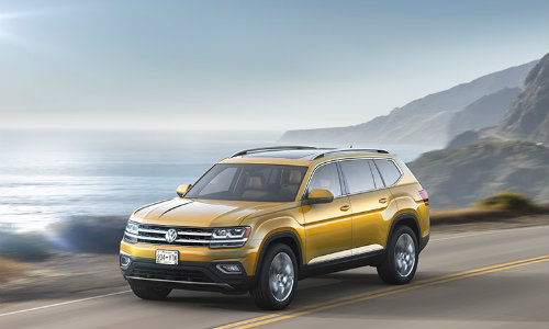2018 Volkswagen Atlas driving by the sea