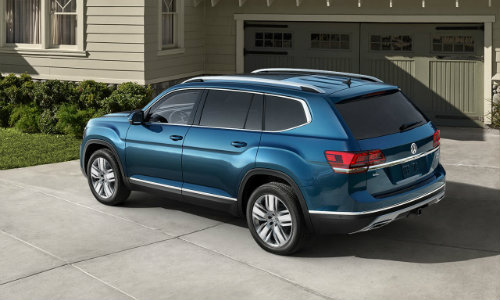 2018 Volkswagen Atlas parked in front of house garage