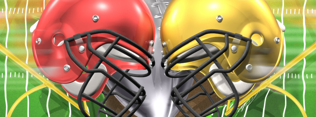 football helmets clashing in faceoff