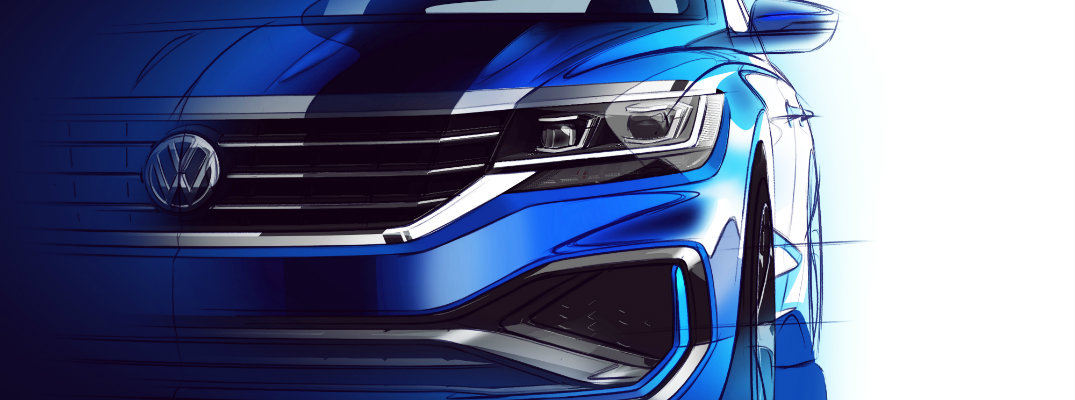 2020 Volkswagen Passat redesign sketch with front look at new headlights, grille, and fascia