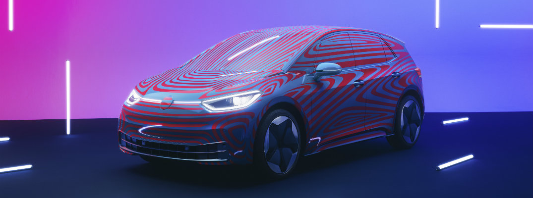 Volkswagen I.D. 3 pre-booking launch debut with blue and pink coloring