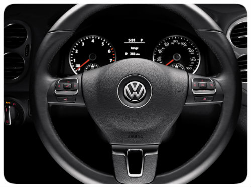 2017 VW Tiguan leather-wrapped wheel
