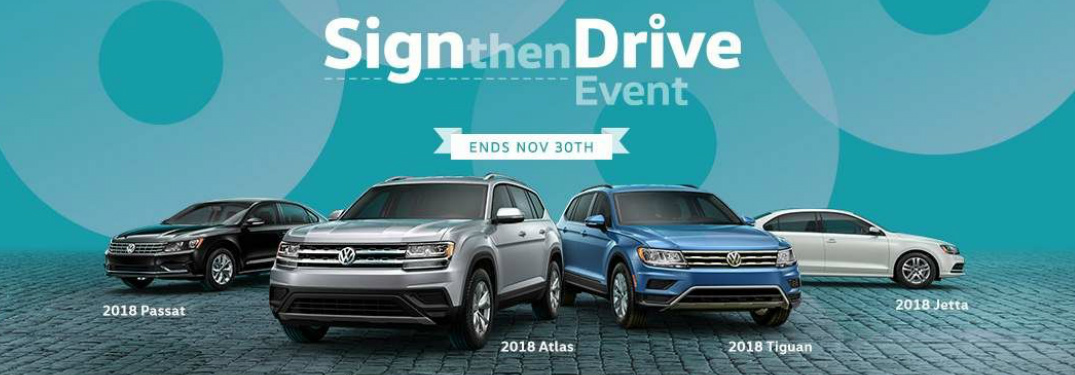 Sign then Drive Title and Volkswagen Models over Turquoise Blue Background