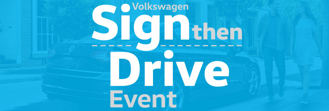 Volkswagen Sign then Drive Event Title and Black VW Jetta