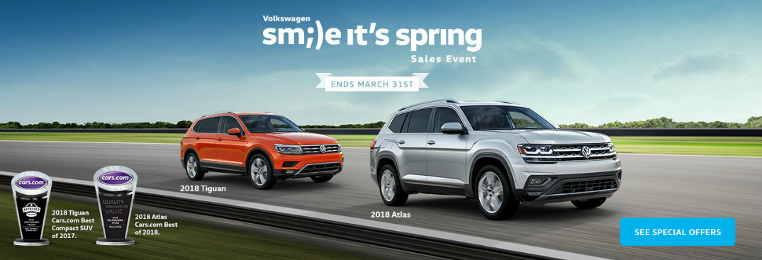 Volkswagen Smile It's Spring Sales Event Title, 2018 VW Tiguan, and 2018 VW Atlas