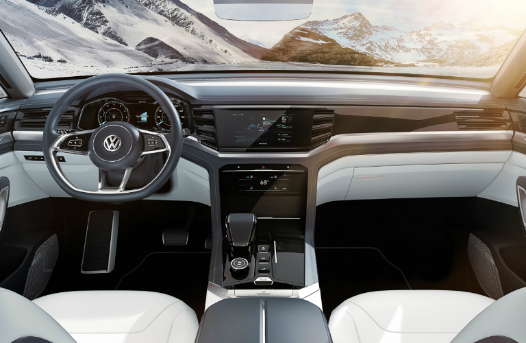 Dashboard and White Seats of Volkswagen Atlas Cross Sport Concept
