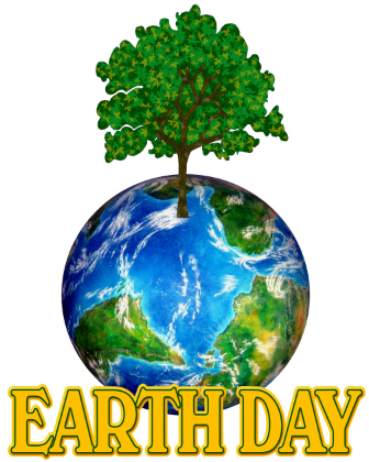 Earth Day Title And A Drawing Of A Tree Growing Out Of Planet