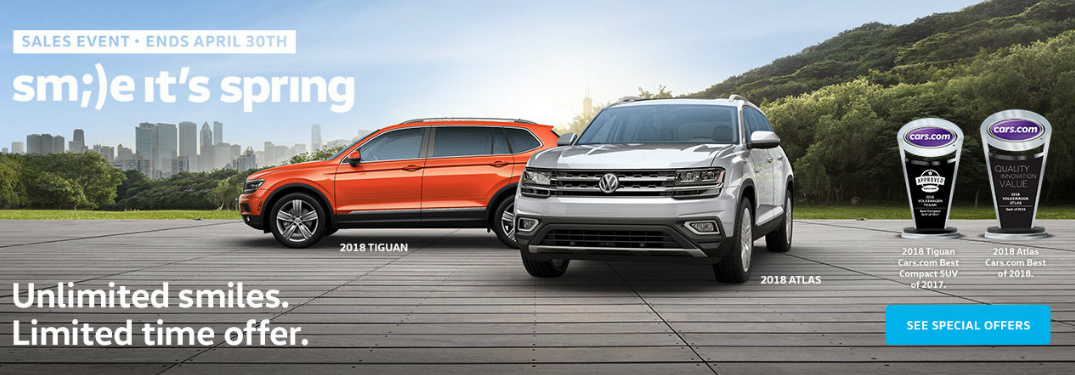 Volkswagen Smile It's Spring Title, 2018 VW Atlas, and 2018 VW Tiguan