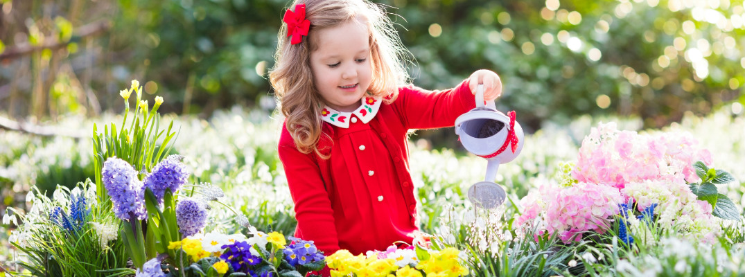 Little Girl Watering Some Flowers