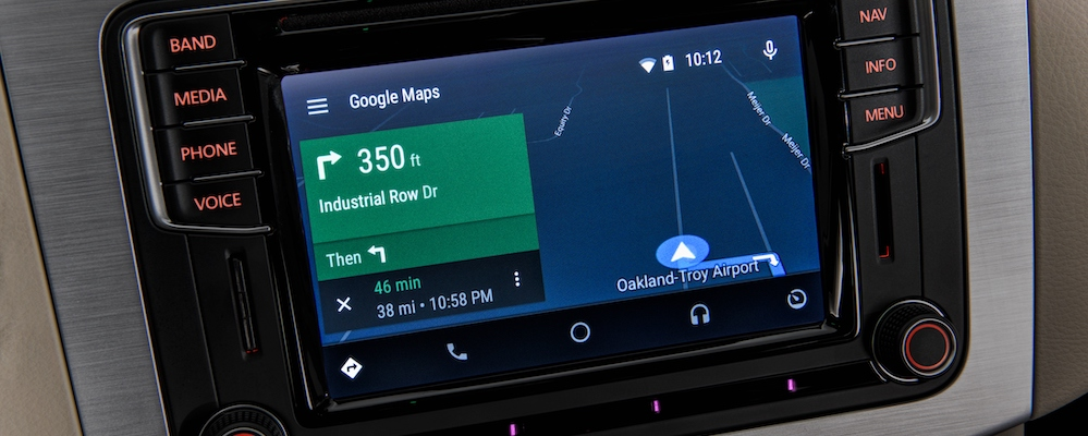 Close up of Google maps on dashboard of Android Auto app in Volkswagen