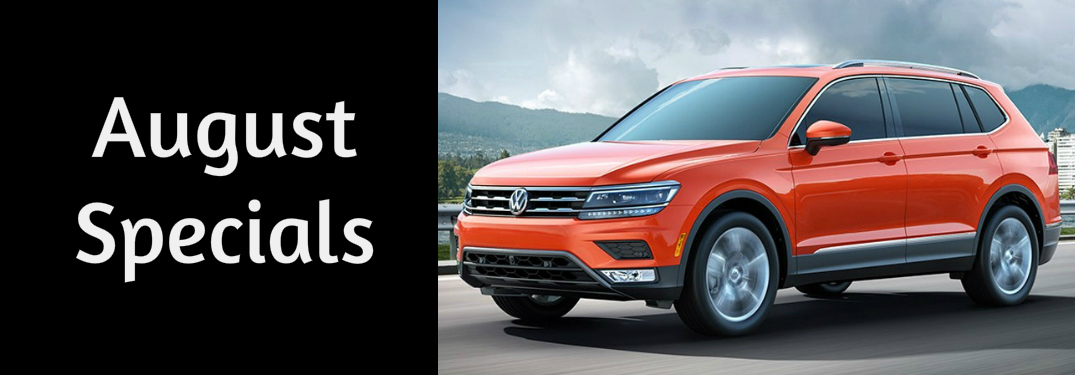 August Specials Title and an Orange 2018 VW Tiguan