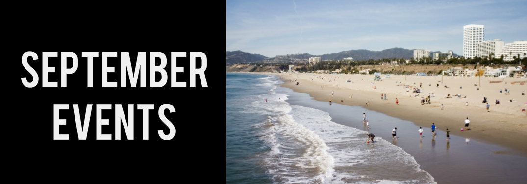 September Events Title and Santa Monica Beach