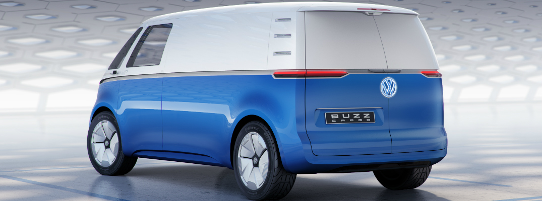 Rear View of Blue and White Volkswagen I.D. BUZZ CARGO