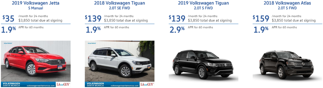 Details of specials for the VW Jetta, Tiguan, and Atlas