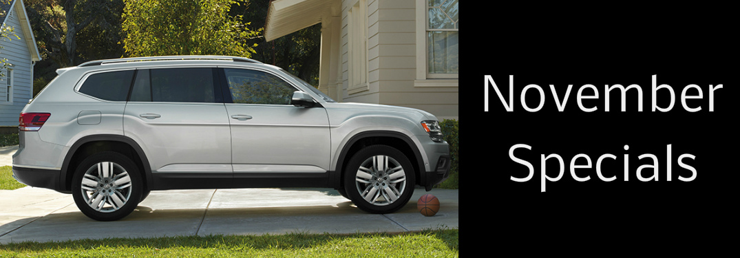 November specials title and a silver 2019 VW Atlas