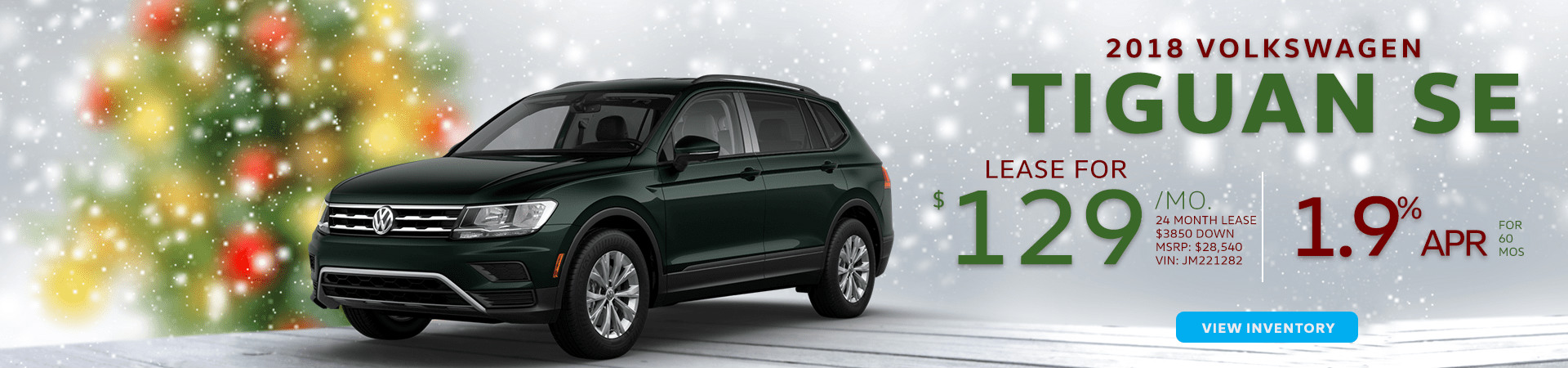 Description of 2018 VW Tiguan specials, a green 2018 VW Tiguan, and a Chistmas-themed background