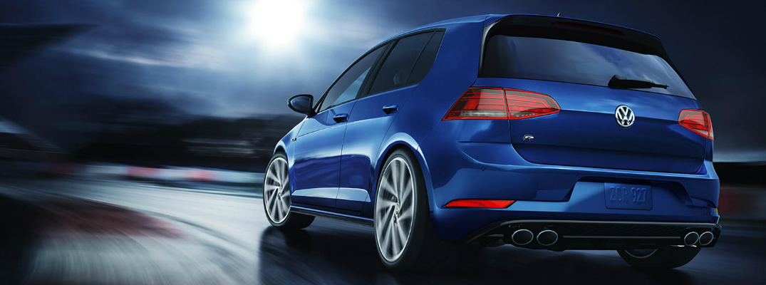 Rear view of blue 2019 Volkswagen Golf R