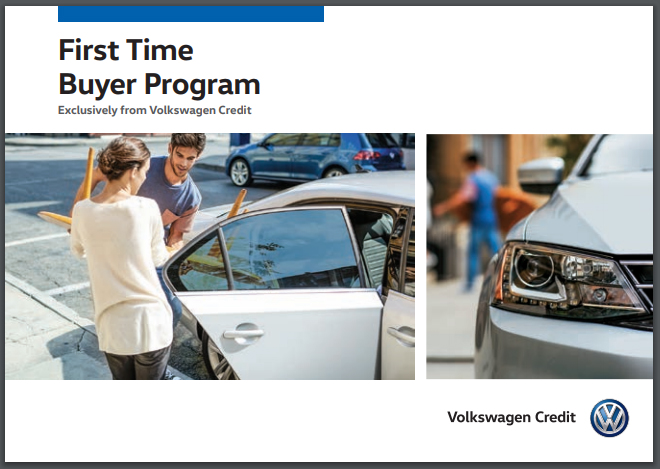 First Time Buyer Program title, an image of people looking inside of a white Volkswagen sedan, and a close-up image of a headlight on a silver Volkswagen sedan