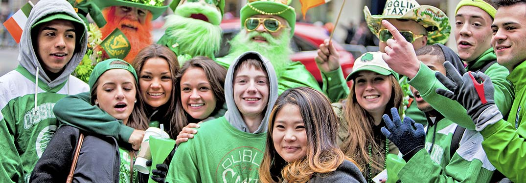 People dressed in green clothing for a St. Patrick's Day event