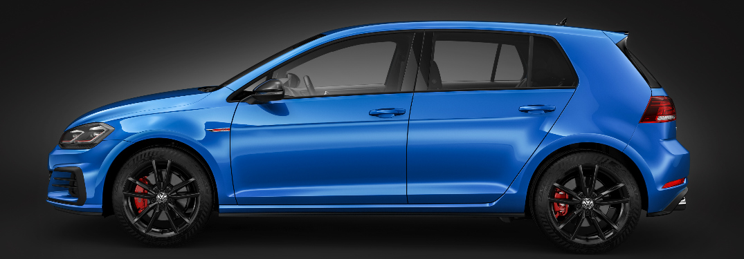 Side View of Blue 2019 Volkswagen Golf GTI