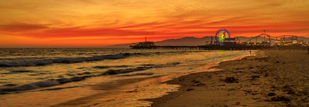 Sunset at Santa Monica Beach with the Santa Monica Pier in the background