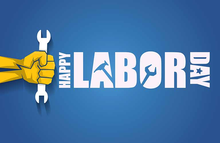Happy Labor Day title and a hand holding a wrench