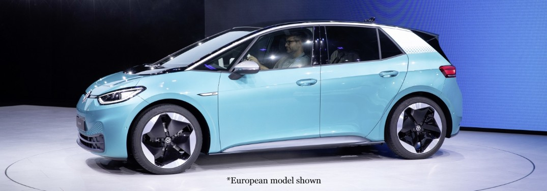 Front driver angle of the light blue European model of the Volkswagen ID.3