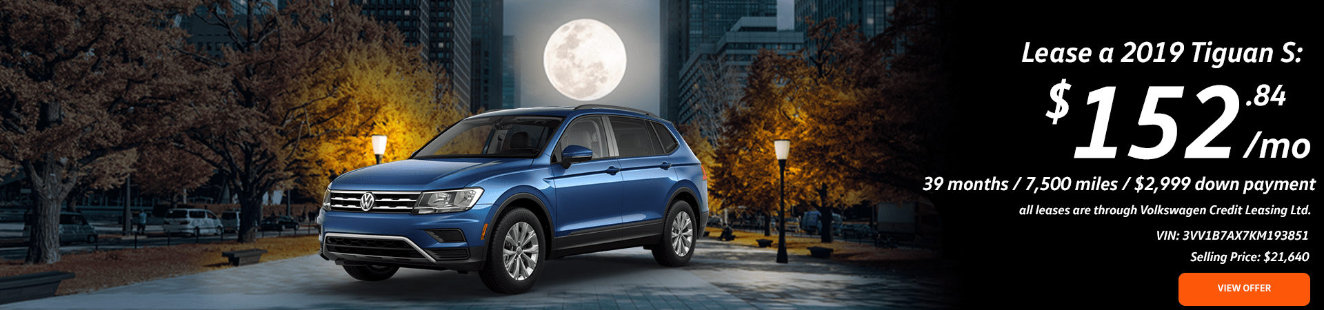 Details of 2019 Volkswagen Tiguan S Lease Special and an image of a full moon over a blue 2019 Volkswagen Tiguan S
