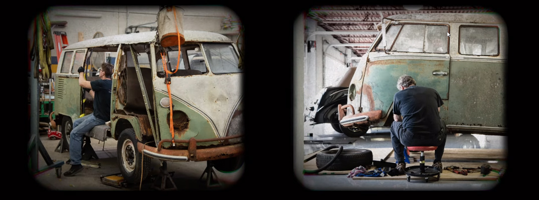 Two images of workers restoring the iconic Volkswagen Jenkins' Bus
