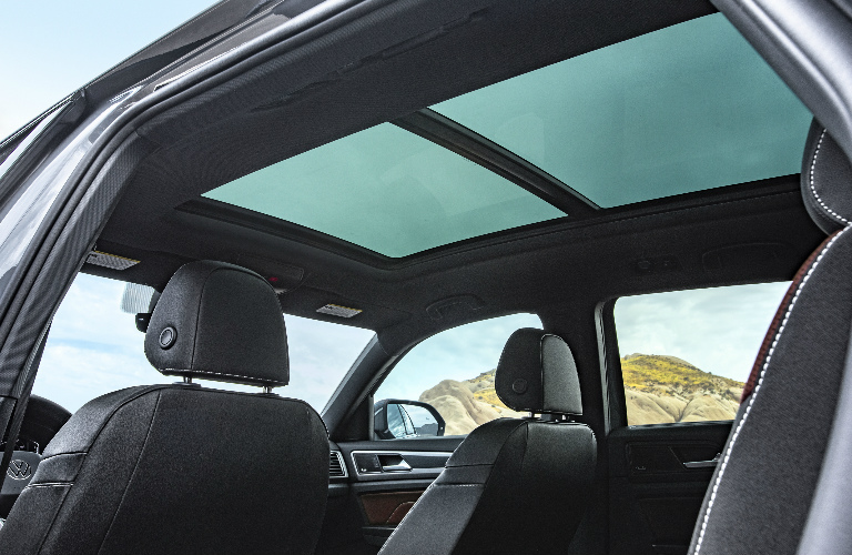 Moonroof and red and grey seats in 2020 Volkswagen Atlas Cross Sport