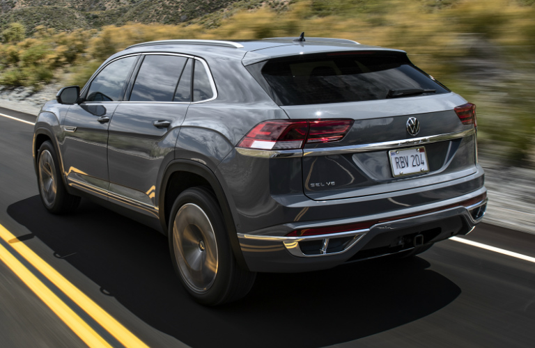 Rear view of grey 2020 Volkswagen Atlas Cross Sport