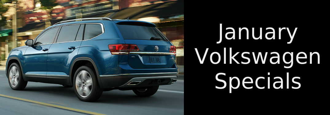 January Volkswagen Specials title and a blue 2019 Volkswagen Atlas