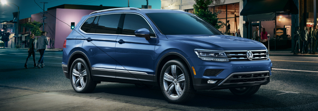 Blue 2020 Volkswagen Tiguan parked on a city street