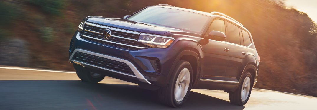 Driver's side front angle view of blue 2021 Volkswagen Atlas