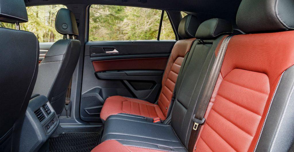 Red and grey rear seats in 2020 Volkswagen Atlas Cross Sport