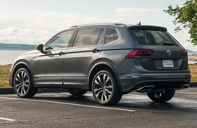 Grey 2020 Volkswagen Tiguan parked near a lake