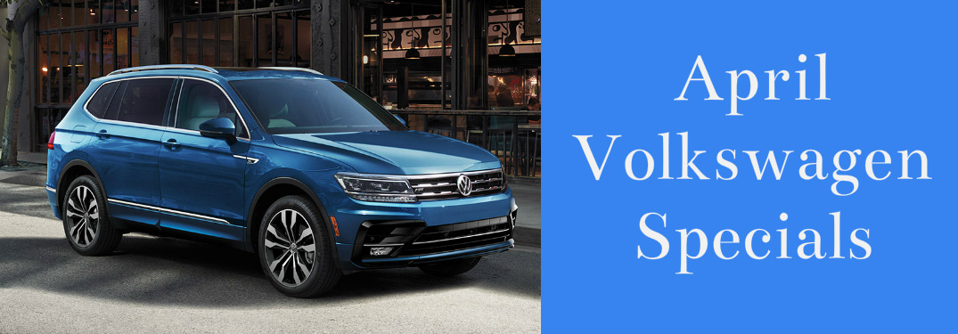 April Volkswagen Specials title and a blue 2020 Volkswagen Tiguan